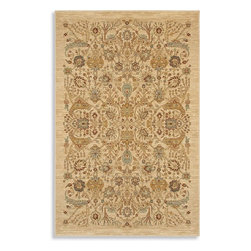 """Karastan - Shapura Bel Canto Ivory Oriental 8'8"""" x 12' Karastan Rug (16006) - Peshawar' rugs have unique color effects originally achieved by hand spinning especially twisted wool that produced subtle nuances of color when dyed and woven. Designs used are traditional, yet relaxed, with freshened color palettes geared toward today's interiors. Karastan's master designers have re-created this stunning visual texture using meticulously placed nuances of color. The Shapura collection offers the design forward consumer the unique texture that was, until now, not consistently available in a high quality machine woven rug."""