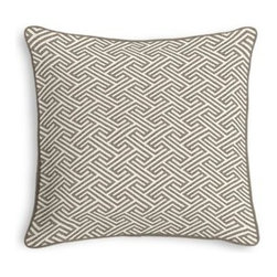 Taupe Geometric Maze Custom Throw Pillow - Black and white photos, Louis XIV chairs, crown molding: classic is always classy. So it is with this long-time decorator's favorite: the Corded Throw Pillow. We love it in this geometric maze pattern in taupe on ivory pure linen. A classic, yet modern coordinate for any decor.