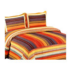 Blancho Bedding - Adventure Park Cotton 3PC Vermicelli-Quilted Patchwork Quilt Set  Full/Queen - Set includes a quilt and two quilted shams. Shell and fill are cotton. For convenience, all bedding components are machine washable on cold in the gentle cycle and can be dried on low heat and will last you years. Intricate vermicelli quilting provides a rich surface texture. This vermicelli-quilted quilt set will refresh your bedroom decor instantly, create a cozy and inviting atmosphere and is sure to transform the look of your bedroom or guest room. Dimensions: Full/Queen quilt: 90 inches x 98 inches. Standard sham: 20 inches x 26 inches.