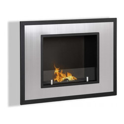 "Ignis Products - Bellezza Mini Wall Mounted / Recessed Ventless Bio Ethanol Fireplace - Get the warmth and inviting beauty of a larger fireplace without taking up a lot of space with the Belezza Mini Recessed Ventless Ethanol Fireplace. This stainless steel and black ethanol fireplace burner comes with a clear glass guard that allows you to watch the 1.5-liter burner inside. Ideal for creating an ambiance of welcoming charm and warmth, this fireplace is designed with space in mind and utilizes a recessed installation (or it can be hung on the wall instead). It burns for a full five hours with just one refill, and it puts out 6,000 BTUs of toasty heat to keep you warm and comfy. Dimensions: 31.75"" x 23.75"" x 8"". Features: Ventless - no chimney, no gas or electric lines required. Easy or no maintenance required. Easy Installation - Can be mounted directly on the wall or recessed (mounting brackets included). Capacity: 1.5 Liter. Approximate burn time - 5 hours per refill. Approximate BTU output - 6000."