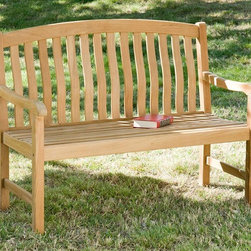 Holly & Martin - Holly & Martin 4' Crowne Bench - Slatted seat rest. Sturdy armrests for added comfort. Made from 100% teakwood. Light brown teakwood stain finish. Made in Indonesia. Assembly required. Weight capacity: 500 lbs.. Seat: 46.25 in. W x 17.25 in. H. Overall: 48 in. W x 24.5 in. D x 36.75 in. H (42 lbs.)Complete your home with this handsome teakwood bench that is beautifully designed. Comfortably relax outdoors with your loved ones with a sturdy arm bench that features slats on the seat for quick drying after a cooling rainfall. Perfect for the patio, deck or sunroom this durable bench is sure to be a welcome addition to any space.