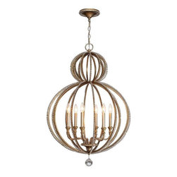 Crystorama Lighting - Crystorama Lighting 6766-DT Garland Eclectic Chandelier in Distressed Twilight - Crystorama Lighting 6766-DT Garland Eclectic Chandelier in Distressed Twilight with Hand Cut Beads Crystal