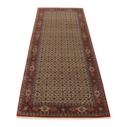 1800-Get-A-Rug - Hand Knotted Rug Wool and Silk Bidjar Mahi Gallery Runner Rug SH14298 - Our fine Oriental rug collection consists of 100% genuine, hand-knotted and hand-woven rugs from Persia, China, and other areas throughout Asia. Classic, traditional, and offered in a wide range of elaborate designs, every rug is guaranteed to serve as a beautiful and striking element in any interior setting.