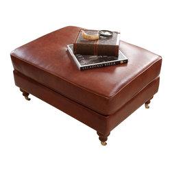Elements Home Furnishing - Cambridge Top Grain Leather Standard Ottoman - Shown in Acorn. Top Grain Leather. Hardwood frame encased in  high density foam. Castor wheel feet. Dimensions: 38.5 in. D x 29 in. W x 20 in. H ( 33 lbs. )