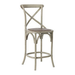 "Bosquet Counter Stool - This lovely counter stool has French country style and the added interest of an ""X"" shape on the back. Also available in bar stool height.Dimensions: 20""W x 17""D x 42 1/2""H, seat height 26"". Crafted of bentwood American oak with carefully rounded backs, handwoven rattan seats."