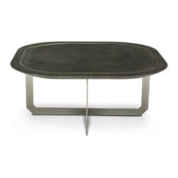 Blend Concrete Studio - Elena C Table - Stainless steel inlay with modern finish concrete make this modern coffee table unique. With smooth finish.