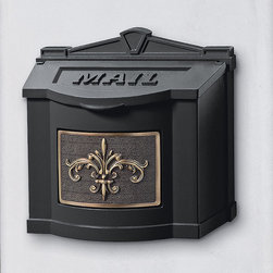 Frontgate - Fleur-de-Lis Wall-mount Mailbox - Crafted of durable cast aluminum. Solid brass or nickel accents. Arrives ready to hang. Optional Ethan address plaque finishes the look (sold separately). Please check for accuracy; personalized orders cannot be modified, cancelled, or returned after being placed. Our Fleur-de-Lis Wall-mount Mailbox lets you enjoy mail delivery right outside your door while adding a decorative touch to your entryway. This cast aluminum mailbox is available in five color options to complement any decor.. . . . . Made in USA.