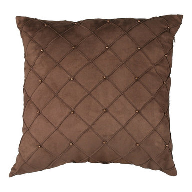 Brandi Renee Design - Chocolate Diamond Pin Tuck Pillow - Our casual faux suede square chocolate pillow is hand sown in a diamond like shape with vibrant bronze beads across the face of the pillow. Its texture is amazingly soft to touch and this pillow would look great with almost anything.