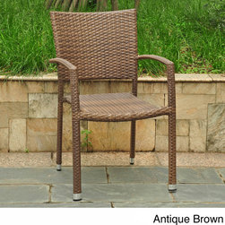International Caravan - International Caravan Barcelona Resin Wicker/Aluminum Outdoor Dining Chairs (Set - These outdoor dining chairs are the perfect accompaniment to a stylish patio. They come in four natural colors which will all complement your outdoor decor,and they're weather and UV-resistant so they won't fade in the sun or wilt in the rain.