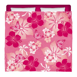 "Eco Friendly Made In USA ""Aloha Pink"" Hibiscus and Butterflies King Comforter - Dream of Hawaiian Days and Nights With This Premium ""Aloha Pink"" Hibiscus and Butterflies King Size Comforter From Our Surfer Hawaiian Bedding Bed and Bath Collection."