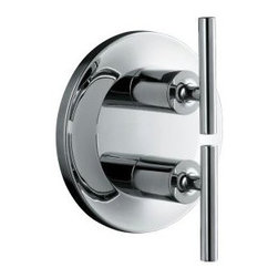 KOHLER - KOHLER K-T14489-4-SN Purist Stacked Valve Trim in Polished Nickel - KOHLER K-T14489-4-SN Purist Stacked Valve Trim in Polished NickelPurist combines the strength of simple, architectural forms with sensual design lines and careful detailing for inviting visual appeal. Elements of relaxed minimalism for the bath, Purist faucets are honest interpretations of classic modernity. Especially suited for serene home spa environments, the perennial simplicity of Purist is equally appropriate in a luxurious eclectic setting or a rustic mountain retreat.