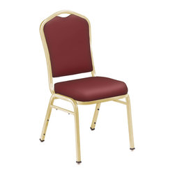 National Public Seating - National Public Seating 9300 Silhouette Vinyl Padded Stack Chair in Burgundy - Add upscale ambience to any cafeteria, lounge or banquet hall with this stylish Silhouette Back stacking chair. It features a concealed double back for a more refined look, and built-to-last construction from rugged 7/8 inch square 18-gauge steel tubing. The seat and back fabric is scotch guarded to prevent staining. These stackable chairs become extremely portable when combined with a dolly.