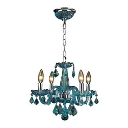 """Worldwide Lighting - Clarion 4-Light Chrome Finish and Coral Blue Crystal Chandelier 16"""" D x 12"""" H - This stunning 4-light crystal chandelier only uses the best quality material and workmanship ensuring a beautiful heirloom quality piece. Featuring a radiant chrome finish and finely cut premium grade coral blue colored crystals with a lead content of 30%, this elegant chandelier will give any room sparkle and glamour."""