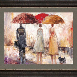"""Paragon Decor - Spring Showers I Artwork - Brighten up those boring walls with this colorful piece, """"Spring Showers I"""" which features an oil pastel-style depiction of a group of people on a rainy street, looking out into the distance. This piece can be displayed alone, but looks best with its sister piece, """"Spring Showers II."""" This romantic piece is surrounded by a gray matte and simple black frame. This piece measures 42 inches wide, 1 inch deep, and 34 inches high."""