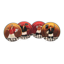 Certified International - Certified International 'Bistro' 9-inch Soup/ Pasta Bowls (Set of 4) - Certified International brings you these stylish hand-painted ceramic soup/pasta bowls. These 'Bistro' decorated bowls will bring color and variety to your dining table.