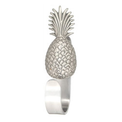 """Pineapple Robe Hooks - Pineapple Robe Hooks feature a Peter Costello designed pewter pineapple sculpturemounted on a decorative aluminum hook. Available in brushed nickel and a variety of decorator powder coat colors. Hook measures approx. 5"""" tall by 3/4"""" wide, opening diameter is 1.5"""" in , mounting hardware included."""