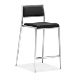 Zuo Modern - Zuo Dolemite Counter Chair in Black [Set of 2] - Counter Chair in Black belongs to Dolemite Collection by Zuo Modern Stand out with our Dolemite counter chair. The sleek design comes in black or white leatherette on a stainless steel base. Counter Chair (2)