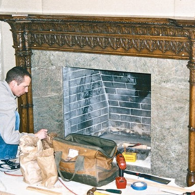 Gothic style fireplace mantel hand carved in oak -