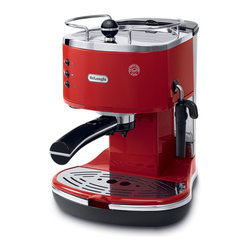 DeLonghi - Icona Pump Espresso Maker - The DeLonghi ECO310R Icona 15-Bar Pump Driven Espresso/Cappuccino Maker, in red, features a Dual-Function filter holder which accommodates two separate attachments. The patented Sempre Crema filter, used with two measures of ground coffee, enhances the brewing process to produce a perfect crema. The Easy Serving Espresso (E.S.E) filter, used with pods or one measure of ground coffee, makes espresso preparation simple and convenient. The adjustable cappuccino frother includes a special chamber that mixes steam and milk to create a rich creamy froth. The unit includes an on/off switch with indicator light to allow for easy operation. Additional features include a Built-In tamper, 48-Ounce removable water tank, stainless-steel boiler, cup warmer and removable drip tray.1500-Watt 15-bar pump driven Espresso/Cappuccino maker with patented Dual-Function filter holder.