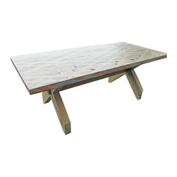 Plaid Ballet Table - Bring the family together with this unique dining table. Durable craftsmanship and unique, plaid patterned stain makes this a great unique piece for any home. Made from reclaimed heart pine.
