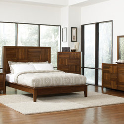 Coaster - Joyce 5Pc Queen Bedroom Set in Walnut Finish - Block designs detail the headboard and footboard of the Joyce bedroom collection. Special features include felt lined top drawer, full extension glides and english dovetail drawers. Keep your personal items near by tucking them in the hidden storage headboard. The timeless design and unique wood grain of the Grove Bedroom Collection makes this set a simple choice.