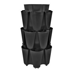 GreenStalk - 3 Tier GreenStalk Gardening System with Slow Drip Irrigation, Beautiful Black - The GreenStalk grows more with less time, water, and land.