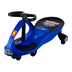 Trademark Global - Lil Rider Chief Justice Police Wiggle Riding Push Toy Multicolor - 80-1288BL - Shop for Tricycles and Riding Toys from Hayneedle.com! Your little tyke will love patrolling the neighborhood with the Lil Rider Chief Justice Police Blue Wiggle Ride-On Car Riding Toy. This compact durable riding toy features a fun police theme to inspire imagination and innovative wiggle technology to expend energy. No batteries pedals or gears are required to power the car. Instead it harnesses the natural forces of inertia centrifugal force gravity and friction to create a smooth quiet safe ride. All that's needed is a flat surface to ensure smooth sailing so your future police chief can take a joyride through the kitchen or enjoy a sidewalk expedition. Providing old-fashioned fun this ride-on car measures 30L x 13.5W x 16H inches. Recommended for children age 3 years to7 years.About Trademark Global Inc.Located in Lorain Ohio Trademark Global offers a vast selection of items for your home and lifestyle. Whether you need automotive products collectibles electronics general merchandise home and garden items home decor house wares outdoor supplies sporting goods tools or toys Trademark Global has it at a price you can afford. Decor items and so much more are the hallmark of this company.