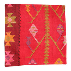 Original Turkish Kilim Hand Woven Pillow Cover - Red Antique Hand Woven Kilim Pillow Cover Imported from Turkey - Hand Woven from an Antique Turkish Kilim Carpet, this pillow cover has a Wool front and cotton back with Zipper entry.  Please note:  pillow insert not included.