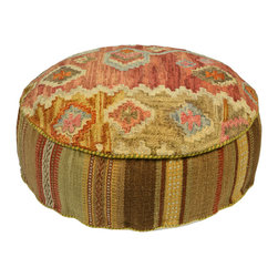 Habitat Home & Garden - Garima Pouf - The Garima Pouf is a beautiful piece to add extra seating to your home, or to use as a foot rest. Upholstered in a quality wool and cotton fabric, this colorful piece will add flair to your decor.