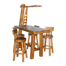 MBW Furniture - Natural Rustic 5 Pc Bar Table Set w/ 4 Bar Stools - Suar wood is a hardwood with a straight grain making it easy to carve and finish with a high gloss. The color of suar wood varies between the center and outer edges of the tree. Therefore very interesting multi-colored sculptures & furniture are crafted with this wood.