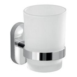 Gedy - Glass Toothbrush Holder With Chrome Mounting - Round toothbrush tumbler with cylindrical wall mount; screws are included for mounting.