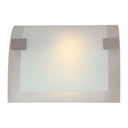 Lite Source - Lite Source LS-1676 Checks 1 Light Wall Sconces in Polished Steel - Wall Sconce, Ps W/Frost Glass Shade, 60W/B Type