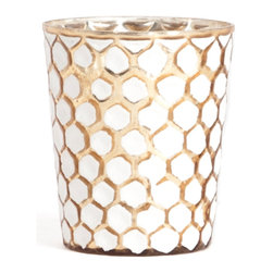 Saro - Glass Candle Holder, Gold SET/2 - Illuminate the table and make your next soiree sparkle.
