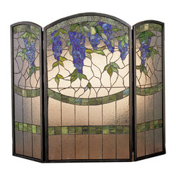 "Meyda Lighting - Meyda Lighting 27235 40""W x 34""H Wisteria Folding Fireplace Screen - Meyda Lighting 27235 40""W x 34""H Wisteria Folding Fireplace Screen"