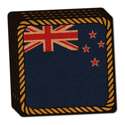 """Made on Terra - Flag of New Zealand Thin Cork Coaster Set of 4 - You're just cleaning up after your epic party when you realize it... something's different. Unlike all those other times, you're not mopping up cup condensation from your counters and tables. This time, everyone used a coaster. Everyone. Maybe it's because you handed out a coaster with every glass. No. You've tried that before. No, this time it's because of the actual coasters. You found the cutest Made On Terra printed cork coasters. You love that everyone commented on how unique they were,  from the light-weight, thin cork material to the printing that creates a cool and subtle effect. Plus, they're really absorbent, but dry quickly. And they're made from an eco-friendly, sustainable resource, so that makes you feel pretty great, too. Choose from Made on Terra's many fabulous cork coasters. Measures 4"""" x 4"""" x 1/8"""". Made of thin cork. Super cute and nicely absorbent. Sold in sets of four."""