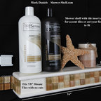"""Bathroom Niche & Shelf Store - Customize your shelf with your accent tile. This shelf is ready to receive 1"""" mosaic  tile with no cuts! Or just cut your accent or field tile to fit in the special inset opening to make your shelf blend right in."""