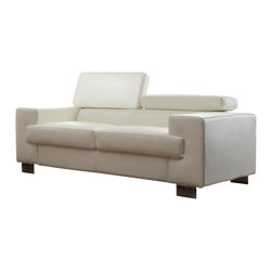 Homelegance - Homelegance Vernon Loveseat in White Leather - With defined angles that exemplify contemporary design, the Vernon collection will blend effortlessly into your modern home. Metal legs support the bonded leather seating group while also enhancing the look of the collection. The headrests atop each piece add function to this already unique group. The collection is offered in black or white bonded leather.