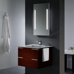 Vigo 31-in. African Walnut Single Bathroom Vanity - The Vigo 31-in. African Walnut Single Bathroom Vanity has all the storage capacity of a larger vanity but in a much more compact area. A solid white countertop houses an undermounted white ceramic basin. The countertop is fitted for a single faucet and has a chrome-plated solid brass drain assembly. The cabinet is made from solid wood and given an anti-scratch African walnut finish. A single storage drawer is provided for your toiletries and each side of the cabinet has a wrap-around hand-towel rack. Piece comes with an optional mirror (21.625W x 1.5D x 33.5H inches). Vanity itself requires no assembly but requires wall-mounting (hardware included). About Vigo Industries LLCFounded just over a decade ago in Rahway N.J. Vigo Industries has established a reputation for offering attractive affordable innovative and durable kitchen and bath products. From faucets and sinks to shower enclosures and bathroom vanities Vigo's products are designed with state-of-the-art engineering that combines efficiency and elegance. Vigo's engineering and design teams always look ahead to fulfill the ever-evolving needs and tastes of consumers bringing them the latest styles and trends without compromising quality.