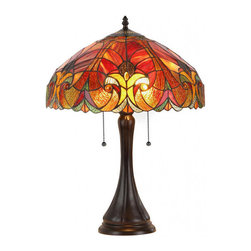None - Tiffany-style Victorian 2-light Table Lamp with Glass Shade - Add warmth and color to any room in your home with this unique Tiffany style table lamp. Featuring an elegant Victorian style dark bronze base,this tasteful lamp is finished with a stunning art glass shade.