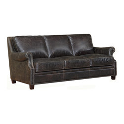 Vintage Furniture Classics-Lazzaro - Hartwell Vintage Brompton Leather Sofa - Hartwell sofa is a beautiful traditional classic sofa as you will ever see. Gently sweeping curves on the scoop-style arms and elegant nailhead trim make the most of a simple yet upscale designer frame in the Lazzaro 1326 sofa collection. The nailhead trim the front of each arm, surrounding the paneling and float gently across the base and upper arm of each piece. Padded rolled arms provide extra comfort and support as well as a nice aesthetic appeal.