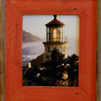 """MyBarnwoodFrames - 8.5 x 11 Barnwood Document Frame Lighthouse Red Distressed Wood Frame - You can't beat the color red for drawing an onlooker's eye to the art or photo you put into this unique barnwood picture frame. We've taken reclaimed wood and created a refurbished, vintage look for this """"new"""" wood frame. Whether you're looking for something to highlight the look or your country photograph or whether you just want to frame your favorite lighthouse, this weathered wood photo frame gives you additional color and texture without the cost of a mat. Because of the possible variances in computer monitor colors and reclaimed wood colors, your completed frame may vary slightly in color and texture from the one you see pictured here."""