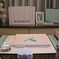 Modern Home Office Ideas - My Pretty Office product grouping photo for website shoot.  Using Caspari, Brighton, DCWV home office products