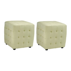 Safavieh Furniture - 17 in. Ottoman - Set of 2 - Set of 2. Can be used an extra seat or a foot rest. Bi-cast leather upholstery. No assembly required. 17 in. W x 16 in. D x 16 in. H (35 lbs.)Complete your home decor with the safavieh kristoff bi-cast leather ottomans.