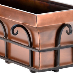 """H Potter - Flared Window Box, 36"""" - As if your spectacular specimen plants didn't add enough flair, this planter will surely send you over the top. The brackets are made of powder-coated dark iron surrounded by scrolling flourishes. Available in two sizes, the box is made of weather-resistant steel finished in antique copper for a classic look."""
