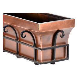 "H Potter - Flared Window Box, 36"" - As if your spectacular specimen plants didn't add enough flair, this planter will surely send you over the top. The brackets are made of powder-coated dark iron surrounded by scrolling flourishes. Available in two sizes, the box is made of weather-resistant steel finished in antique copper for a classic look."