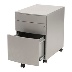 Eurostyle - Eurostyle Floyd PPF Filing Cabinet in Silver - PPF Filing Cabinet in Silver belongs to Floyd Collection by Eurostyle Euro Style Floyd Collection File Cabinet,crafted from epoxy-coated steel construction, has 2 pencil drawers designed for letter or legal hanging filescasters included Locking feature with key (locks all drawers). Filing Cabinet (1)