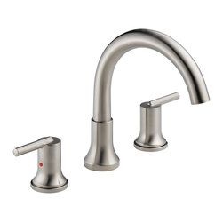 "Delta - Delta T2759-SS Trinsic Roman Tub Trim (Stainless Steel) - Delta T2759-SS Trinsic Roman Tub Trim (Stainless Steel). The Delta T2759-SS is part of the Trinsic Series. This roman tub faucet features a modern contemporary styling, two lever handles for precise volume and temperature control, a 3-hole installation, and a 10"" tall, 10"" long rigid slip-on spout. It requires a Rough-in kit (R7207) that is sold separately, and comes in a classic, Stainless Steel finish."
