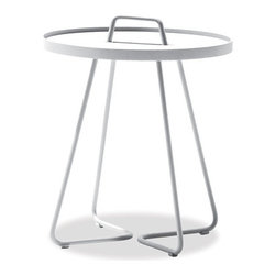 Thos. Baker - Ibiza White Outdoor Side Table - A perfect complement to the distinctive design of our ibiza collection, the take-anywhere ibiza side table is an innovative and practical application of fine Danish design. With a durable, outdoor-ready aluminum tray that effortlessly lifts over a convenient handle, this table makes serving guests a breeze. Available in white or taupe.