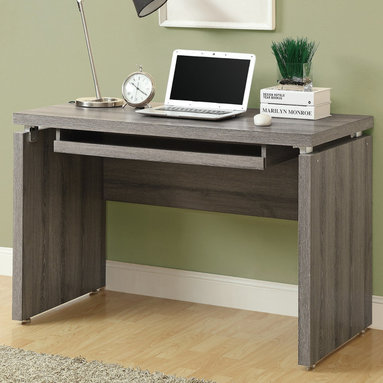 """Monarch - Dark Taupe Reclaimed-Look 48""""L Computer Desk - Sleek and contemporary, this dark taupe reclaimed wood-look desk is the perfect combination of function, durability and design in a modern form. With clean lines and thick panels, this desk will add style to any home office. It features a large size pull out keyboard tray with room for a mouse. A large desktop surface provides plenty of room for all your hardware and working needs.; Material: Wood; Dimensions: 48""""L x 24""""W x 31""""H"""