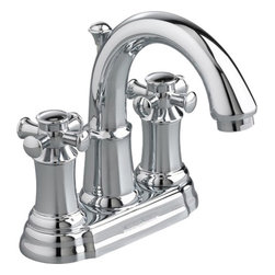 American Standard - American Standard 7420.221.002 Portsmouth 2-Handle Bathroom Faucet, Chrome - This American Standard 7420.221.002 Portsmouth two handle Centerset Bathroom Faucet with Metal Cross Handles is part of the Portsmouth collection, and comes in a beautiful Chrome finish. This 2-handled centerset faucet features a cast brass construction, metal cross handles, ceramic disc valve cartridges, a lead-free composition, an exclusive Speed Connect metal drain, and a flexible Chrome cable.